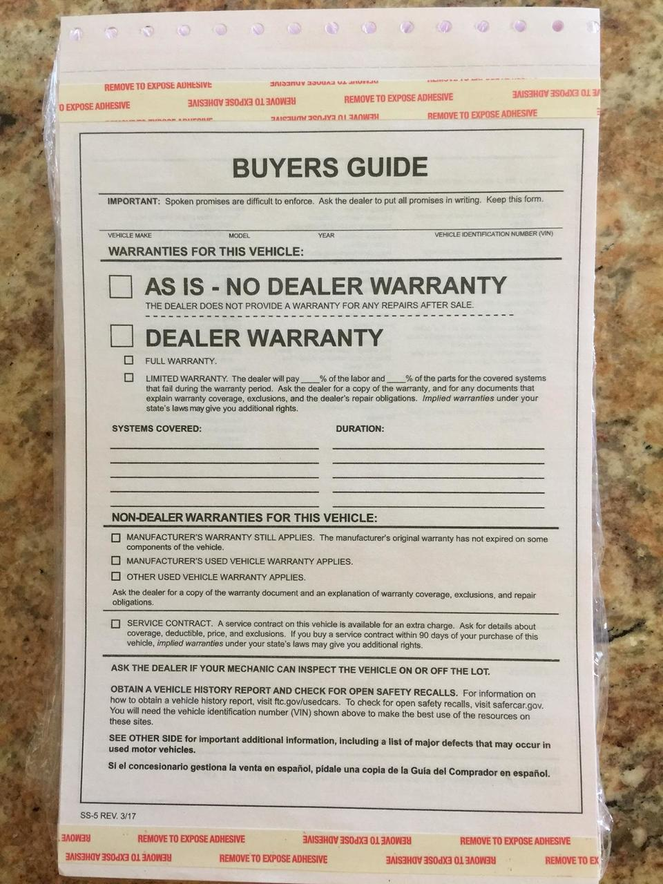 Buyers Guides, As Is No Warranty, 2 Part