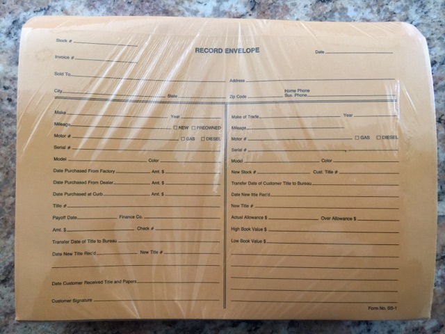 Vehicle Record Envelope