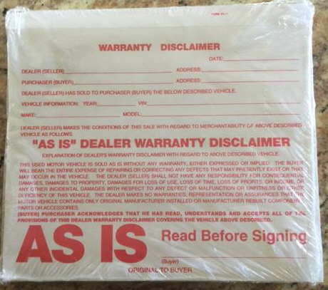 Warranty Disclaimer Form