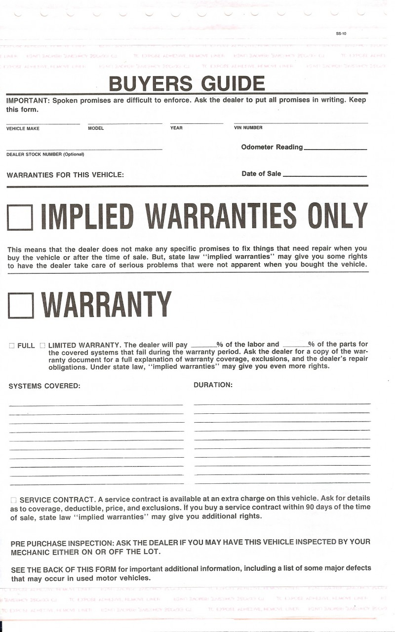 Buyers Guides, Implied Warranties Only