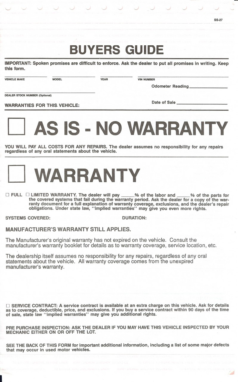 Buyers Guides, Manufacturer's Warranty Still Applies