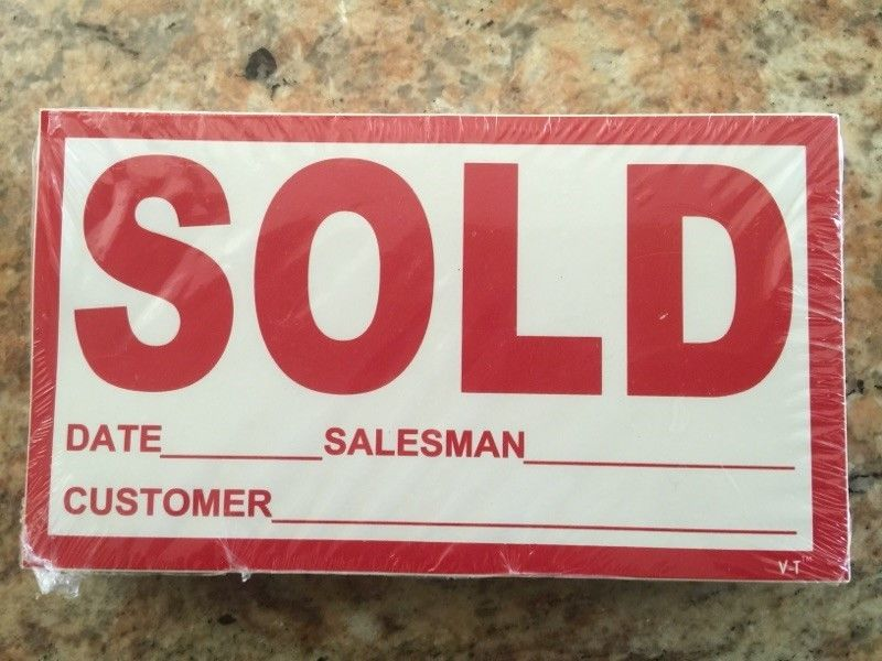 Vehicle Sold Stickers