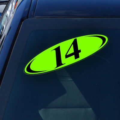 Euro Style Oval 2 Digit Model Year Windshield Signs