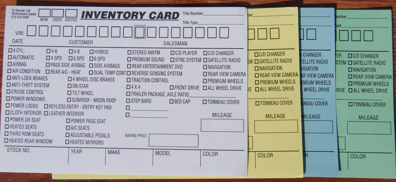 Inventory Card, New, Used & Certified Used Vehicles 4