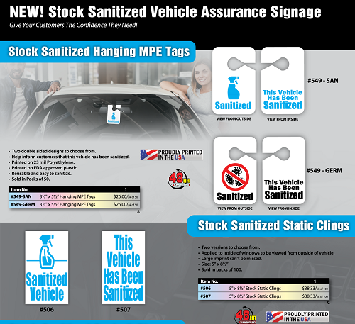 Vehicle Sanitized Hang Tags and Stickers