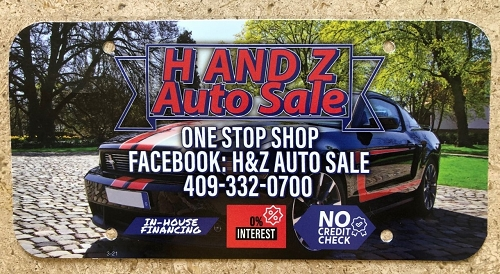 Dealer License Plate Inserts, .30 Mil. Full Color Printing