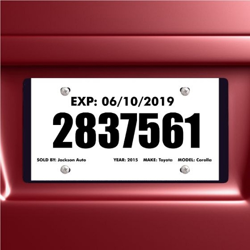 Temporary License Tags, Tear Resistant