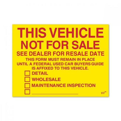 Vehicle NOT For Sale Stickers with Check Boxes