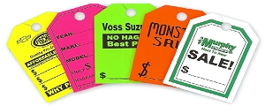 Rearview Mirror Pricing Tags, Custom Imprint