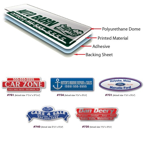 Dealer Name Decals, Dome Polyurethane