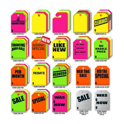 "Large 9""x12"" Fluorescent Mirror Hang Tags. Super Bright Color allows tags to be seen from accross the lot."