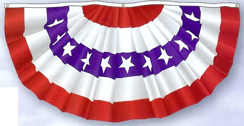 3' x 6' Traditional Patriotic Pleated Fan