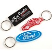 Soft Touch Key Fobs shown in Rectangle, Car Shape and Oval with Ford logo