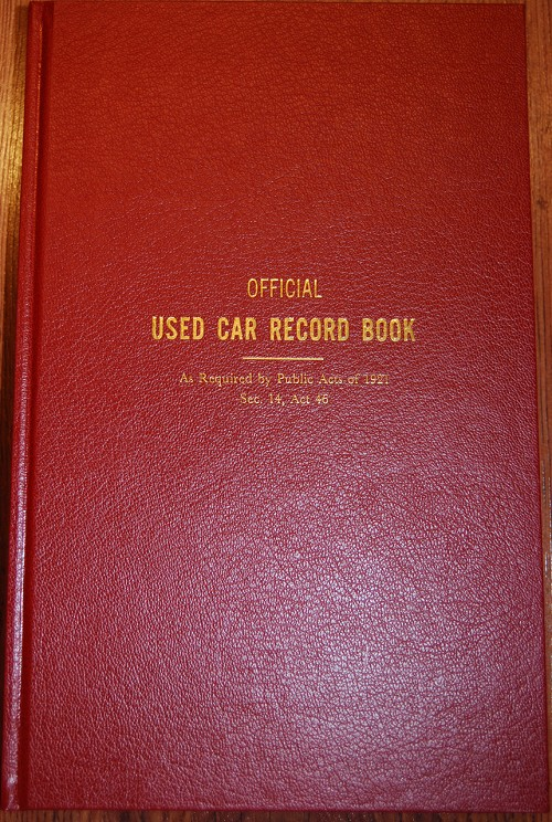 Police Book, Official Used Car Record Book
