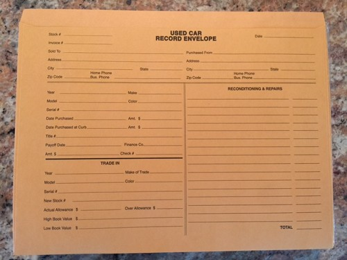 Used Vehicle Record Envelope