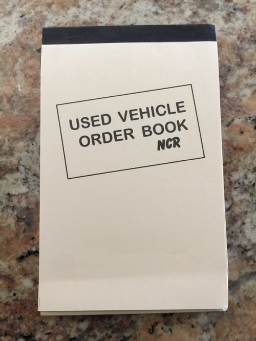 Used Vehicle Order Book