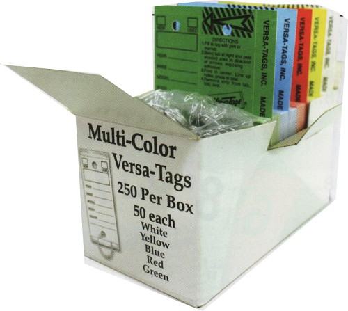 The Genuine Original Self Laminating/Protecting Key Tag from Versa-Tags Inc. MULTI. COLORS in one box.