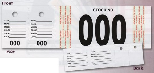Vehicle Stock Number Tags shown with starting numbers 000 thru 499.