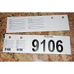 Vehicle Stock Number Tags shown with protective strips removed.