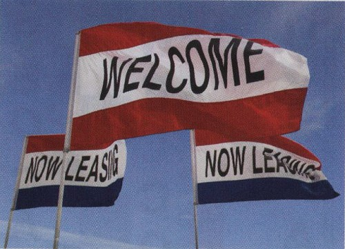 Message Flags shown Welcome (custom Red/White/Red), standard Red/White/Blue Now Leasing, 3' x 5'