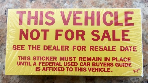 Vehicle NOT For Sale Stickers