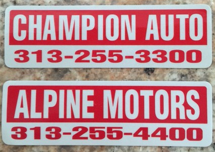 Dealer Name Decals, Reflective Vinyl