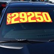 "9 1/2"" adhesive windshield numbers, no shadow shown in Red and Yellow."