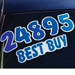 Die Cut Windshield Numbers shown in Blue and White