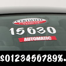 Sign Painter White Die Cut Windshield Numbers