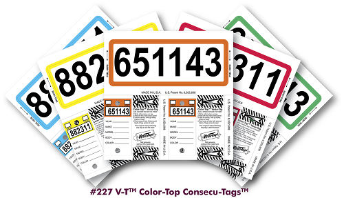 Color Top, Versa Tags Consecu-Tags by Versa Tags Inc. Same great self laminating key tags/stock tags with color only on the top of the key tags and a matching border on the stock tags. Remainder of tags are white.
