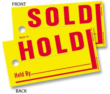 "Sold Hold Tags are 4"" x 8"" Bright Yellow Tags for car dealer windshields or rearview mirrors."