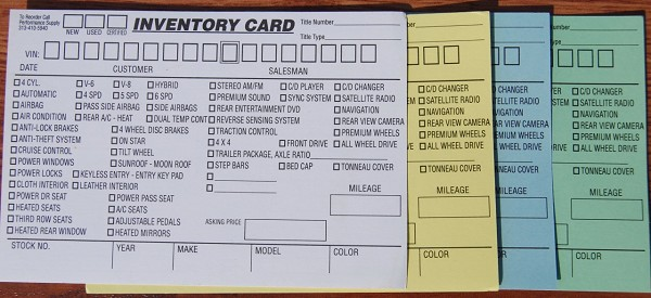 "Inventory Card, New, Used & Certified Used Vehicles 4""x6"""
