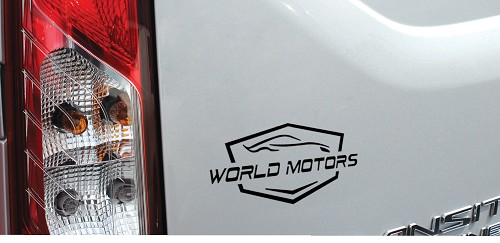 Great looking World Motors die cut decal we did.